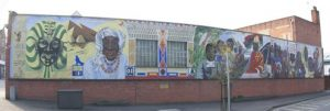 Spiritual home for the black community in reading for Black history mural