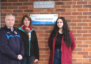Cllr John Ennis [Southcote], Cllr Debs Absolom [Norcot], and Ellie Emberson [Minster] visit Circuit Lane Surgery.