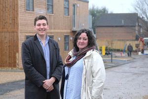 Ben Perry [Peppard] & Adele Barnet-Ward [Caversham] visit the new housing at Lowfield Road