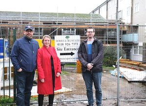 Cllrs David Absolom [Redlands], Rachel Eden [Whitley] & Ash Pearce [Church] check out the refurbishment programme at Hexham.